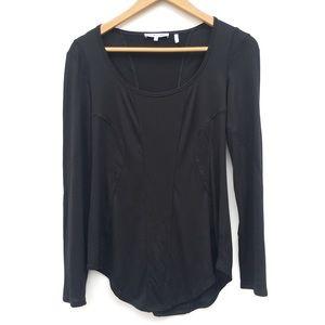Helmut Lang Modal Seamed Scoop Neck Tee Shirt
